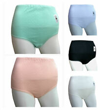 3 PAIRS LADIES COTTON LYCRA CRINKLE EFFECT FULL BRIEFS 5 SIZES BLACK WHITE ASSTD
