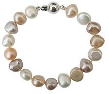 Bridesmaid/Child's White/Peach/Lilac Baroque Pearl Bracelet with a silver clasp