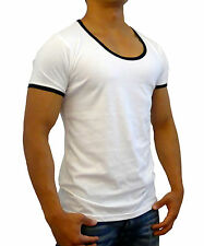 NEW MENS WHITE PLAIN CONTRAST SCOOP NECK T SHIRT SLIM FIT CASUAL GYM FASHION