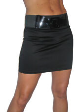 NEW (2352) clubbing mini skirt with shine and belt black size 8-16