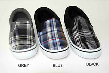 NEW KIDS Casual Canvas Slip On Shoes Sneakers W/ Plaid Pattern (90114A)