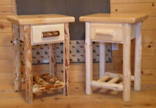 NEW! Log Endtable/Nightstand - with Drawer & Shelf - Handcrafted FREE SHIPPING!