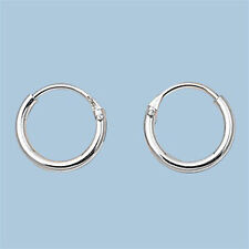 Sterling Silver Small Thin Endless Hoop Earrings Round .925 Jewelry