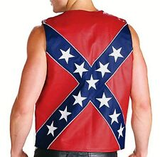 MENS BLACK & RED LEATHER CONFEDERATE REBEL BIKER WAISTCOAT S M L XL 2XL 3XL