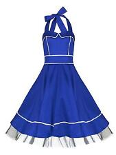 Classic 1950's Nautical Sailor Blue White Rockabilly Jive Swing Dress New 8 - 18