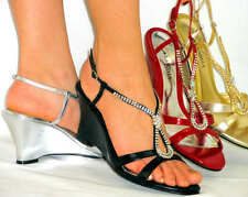 Sexy Sandals *Dazzling Rhinestone Bling* Comfy Medium Wedge Low Heels