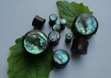 1 Pair Handcrafted ABALONE SHELL INLAY Sono Wood Double Flared Ear Plugs Gauges