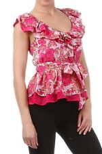 New~ Pink Floral  Print Tiered Oval Neckline Top Blouse S , M, L