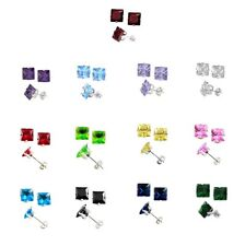 Sterling Silver Men's, Women's, CZ Stud Earrings Square