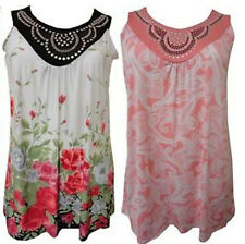 NEW LADIES PLUS SIZE FLORAL PAISLEY PRINT STUD DETAIL NECK LINE TUNIC TOPS 12-26