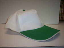 WHOLESALE LOT 10 pcs. BASEBALL CAPS  *NO LOGOS* WHITE/GREEN, BEIGE/GREEN COLORS
