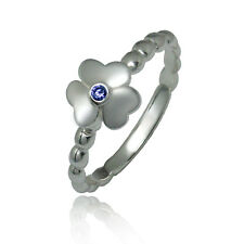 ARGENTO 50% OFF 925 Silver Stacking Rings Clover Leaf Olive Band & Purple CZ