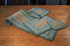 Earth Rug Braided Placemats, Table Runners & Rugs - Dark Green/Cream/Tan/Brown