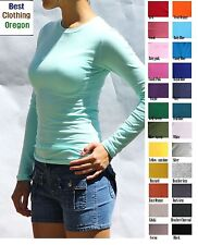 Women/Junior Plain Basic LONG SLEEVE Stretch T-Shirts Solid Cotton Crew neck Top