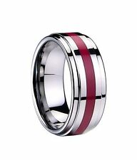 Men Women Band Ring Engagement Tungsten Carbide Red Resin Inlay Polished