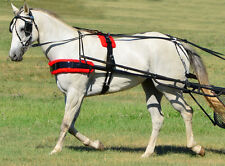 *SMALL PONY SIZE*BLACK BIOTHANE with Silver Spots & RED PAD Driving Harness