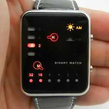 Red/Blue LED Binary Watch Black/White Leather/Silicone Boy Girl Mens Womens Gift