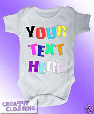 Short Sleeved Baby Grow Vest Bodysuit - PERSONALISED custom - Any text you want!