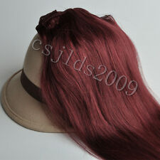 """Full Head 14""""-30""""100% Clip in Real Human Hair Extensions Red Wine Burgundy #99J"""
