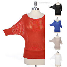 Casual Wide Neck Dolman 3/4 Sleeve Knit Mesh Top Comfortable Stretch Unique Easy