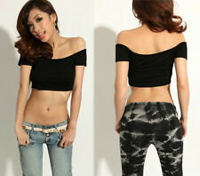 Trendy Womens Off Shoulder Midriff-Baring Night Club T-Shirt Sport Tops 8741