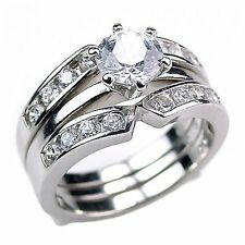 Holly: Sterling Silver 2.2ct Russian Ice on Fire CZ Wedding Set with Ring Guard