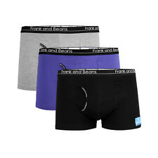 3 Qty Frank and Beans Mens Underwear BOXER BRIEFS Trunks Cotton Large Black BB