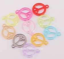Wholesale 100pcs Fashion Mixed Color Peace Symbol Charms for DIY Jewelry