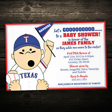 Baseball Sport Birthday or Baby Shower Invitations - Set of 10 -- Any Team