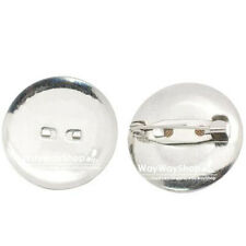 """30 50 100 pcs 25mm 1"""" Metal Round Pin Back Brooch Finding Silver"""