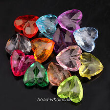 Wholesale 50 pcs Mixed Acrylic Crystal Faceted Heart Spacer Beads Findings15mm