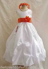 NWT WHITE ORANGE WEDDING PAGEANT BRIDESMAID QUINCEANERA PARTY FLOWER GIRL DRESS