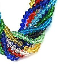 100pcs 6mm or 50pcs 8mm FACETED RONDELLE CRYSTAL GLASS BEADS COLOUR CHOICE