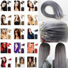 "New 16""18""20""22""24""26""Loops Tip Micro Ring Remy Human Hair Extensions Straight"