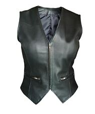 Sexy Womens Ladies Real Black Leather Bikers Waistcoat Vest Zipped Front (W1)