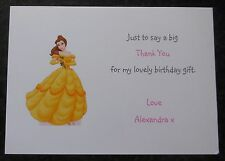 Personalised Disney Princess Party Invitations / Thank You Cards -Girls Birthday