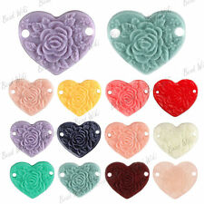 Resin Flatback Heart Peony Flower Cabochons Cameo Connector Links 15x13mm RB0563