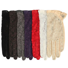 4 color- Gothic medival lolita ladies Italian nappa leather&lace unlined gloves