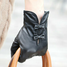 Stylish Women Italian Nappa soft Leather lined Gloves w/ cute bow hand bags tips