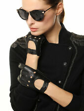 Classic Women Italian nappa Leather motorcycle driving backless hole Gloves