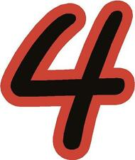 "x1 1"" Digit  (MORE in EBAY SHOP) Race Numbers vinyl stickers Style 1 Black/Red"