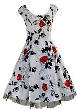 Classic 1950's Rockabilly Vtg White Floral Tea Dress Party Jive Swing New 8 -18
