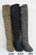 NEW! Women Over-the-Knee Boots Soft Faux Suede Buckle 3 Color SZ 6-10 (EMMA-05)