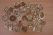 PLAIN WOODEN EARRINGS MANY SHAPES DECOUPAGE CRAFT ART JEWELLERY COME & PICK !!!