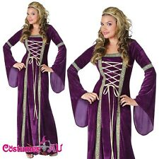 Ladies Purple Medieval Renaissance Costume Velvet Gown Fancy Dress Lady Outfits