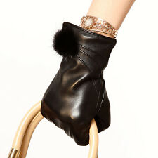 ELMA Genuine Nappa leather Gloves with mink fur Cashmere Lining Gold Plated Logo
