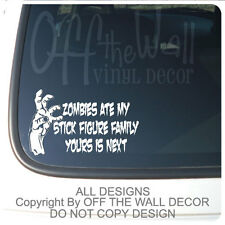"Zombie ""ZOMBIES AT MY STICK FIGURE FAMILY"" Decal Sticker"