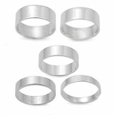 Flat Plain Wedding Band SOLID .925 Sterling Silver All sizes 4-14 TOP SELLER!
