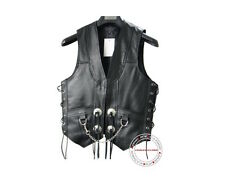 Mens leather chain side laces biker motorcycle vest new all sizes Free Return