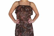 Girls Brown Orange Floral Hi-Low Maxi Strappy Light Weight Size 8 10 12 14 New